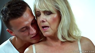 Sexy granny Jana Nelle has an affair with young toff living nextdoor