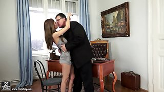 Old headmaster licks and fucks yummy pussy of slutty student Alice Romain