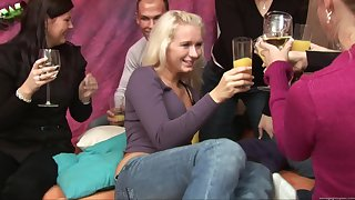 Blonde darling Aneta tired out at hand a gangbang at hand her friend